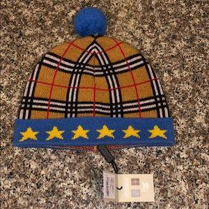 7678795362d Burberry Children s Blue Star Pom Beanie L EUC